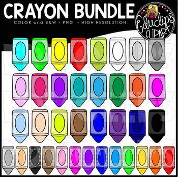 Crayon Collection Clip Art Bundle {Educlips Clipart}