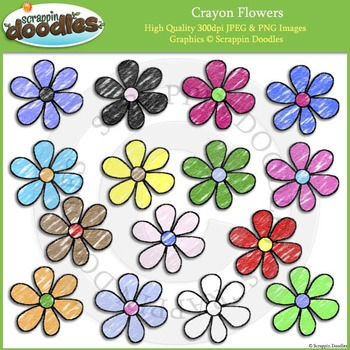 Crayon Colored Flowers