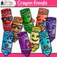 Crayon Emoji Clip Art {Back to School Emoticons and Smiley
