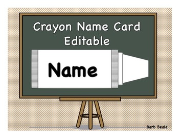 Crayon Name Cards - Editable in PowerPoint - FREEBIE