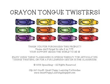 Crayon Tongue Twisters Articulation Flashcards