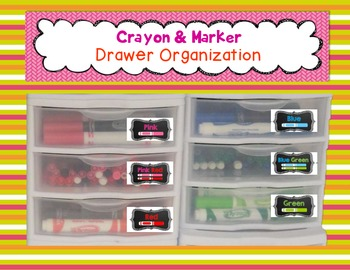 Crayon and Marker Drawer Labels & Organization {Chalkboard