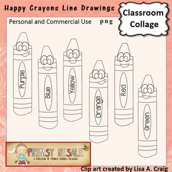 Crayon digital stamps line drawing  personal & commercial