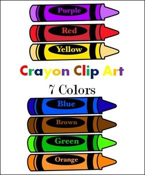 Crayons 7 Colors Clip Art