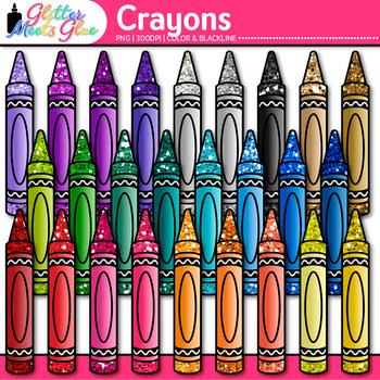 Crayon Clip Art {Rainbow Glitter Back to School Supplies f
