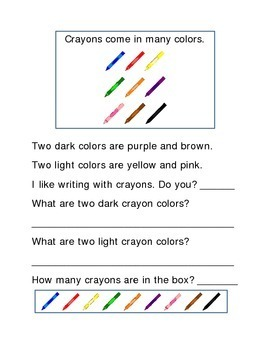 Crayons Following Directions Comprehension Emergent Reader