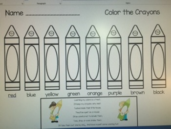 Crayons Learn Colors and Color Words Worksheet