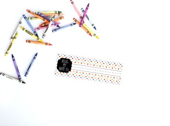 Crayons Stock Image with Name Tag