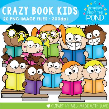 Crazy Book Kids Clipart