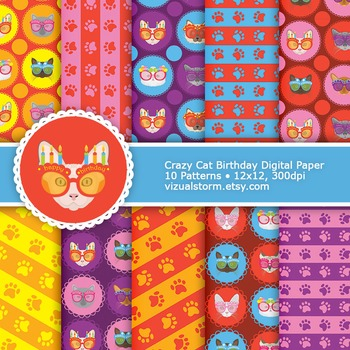 Birthday Cat Digital Paper, 10 Colorful Cats, Stripes and
