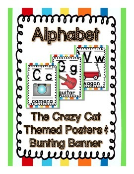Crazy Cat (Primary Color) Theme Alphabet Posters and Bunti