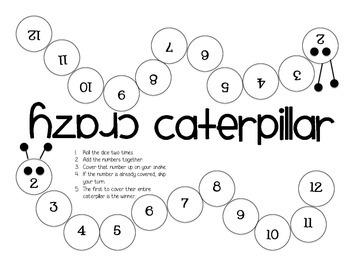 Crazy Caterpillar Addition Game