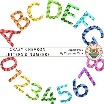 Crazy Chevron Glitter Letters and Numbers - Alphabet / Num