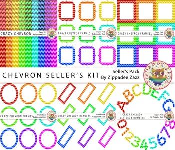 Crazy Chevron Seller's Kit - 90 items! Background/frames/h