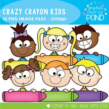Crazy Crayon Kids Clipart
