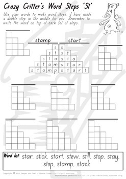 Crazy Critter's Word Steps - ST Worksheet