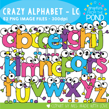 Crazy Lowercase Alphabet Cuties Clipart Set