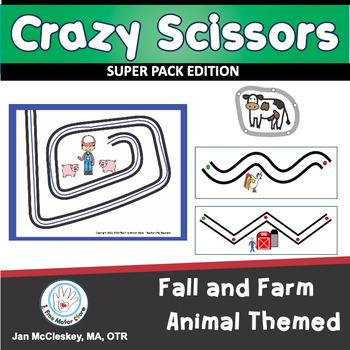 Fine Motor Crazy Scissors!  FALL AND FARM ANIMAL THEMED Ac