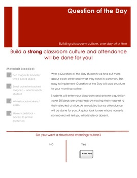 Create Classroom Culture with a Question of the Day