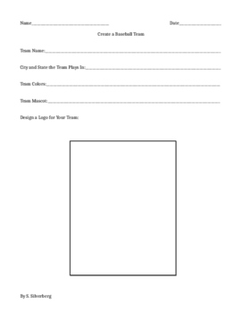 Create Your Own Baseball Team (writing and craft project)-