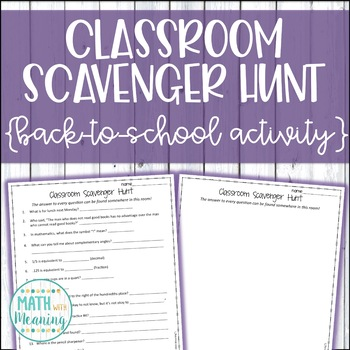 Create Your Own Classroom Scavenger Hunt - A Back to Schoo