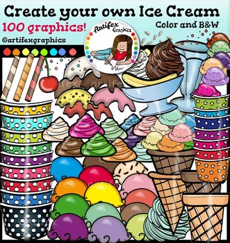 Create Your Own Ice Cream. Color and B&W- 100 items!!