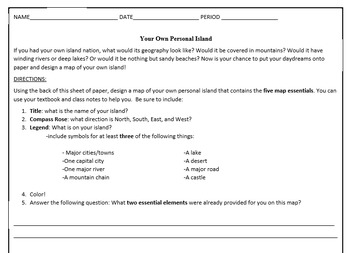 Create Your Own Island Worksheet- 5 Essential Map Elements Review