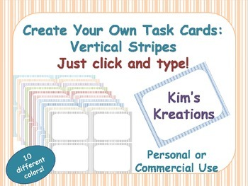 Create Your Own Task Cards: Vertical Stripes;  10 colors;