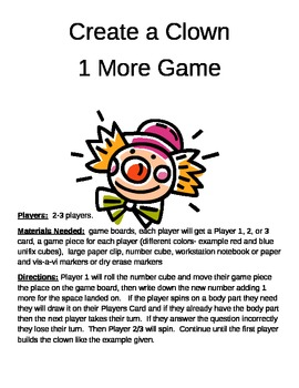 Create a Clown 1 More/Less, 10 More/Less, and 100 More/Less
