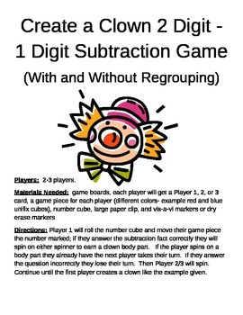 Create a Clown 2 Digit - 1 Digit Subtraction With and With