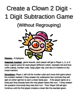 Create a Clown 2 Digit - 1 Digit Subtraction Without Regro