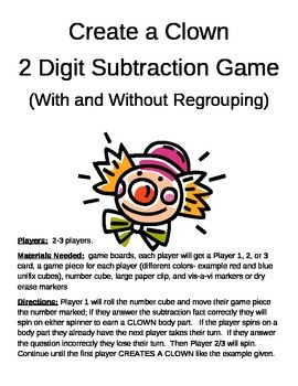 Create a Clown 2 Digit Subtraction With and Without Regrou