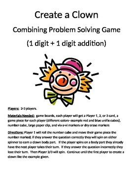 Create a Clown Combining Word Problems 1 digit + 1 digit