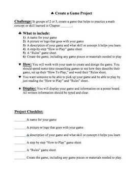 Create a Math Game Project, Group Project, Math Project wi