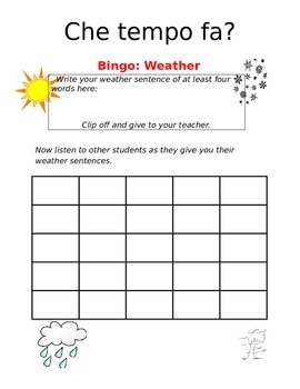 Create-a-bingo Weather ITALIAN