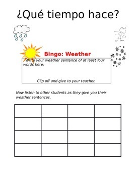 Create-a-bingo Weather SPANISH