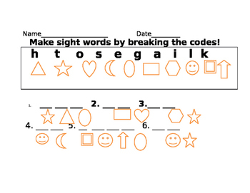 Create sight words by breaking the codes!
