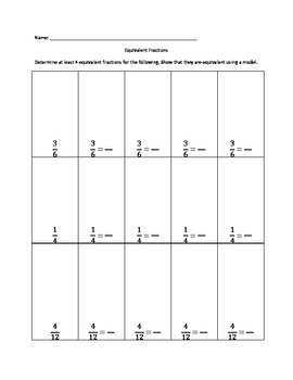 Creating Equivalent Fractions Practice