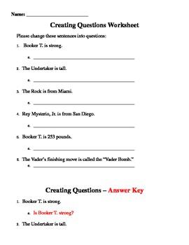 Creating Questions WWE Worksheet