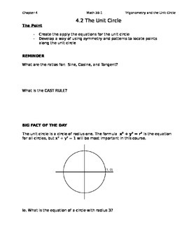 4.2 Creating the Unit Circle class notes (Editable)