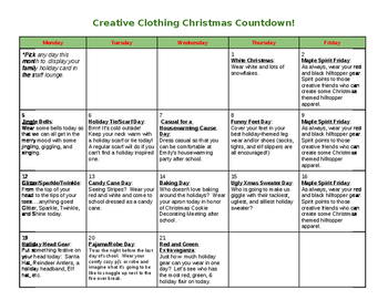 Creative Christmas Clothing Countdown Calendar 2016