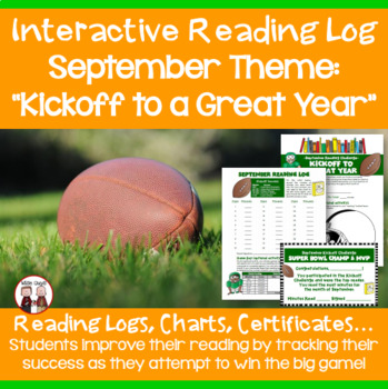 September Reading Log Kickoff to a Great Year Football Theme