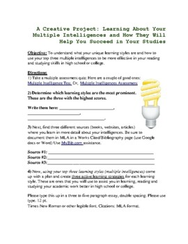 Creative Multiple Intelligences Project