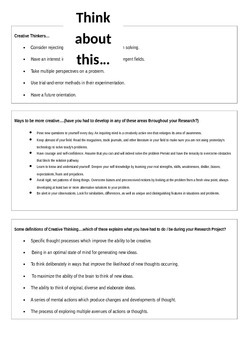 Creative Thinking Definition and Information Handout