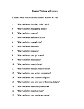 Critical Thinking With Letters and Answer Key (Middle & Hi