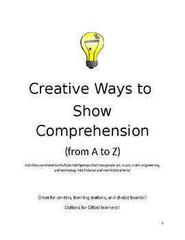 Creative Ways to Show Comprehension- Activities from A to Z