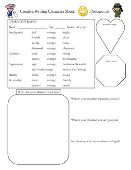 Creative Writing Character Sheet