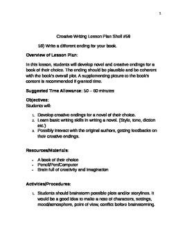 Creative Writing Lesson Plan Shell #59