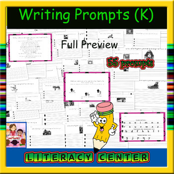 Creative Writing Prompts (55 prompts, each on unique lined paper