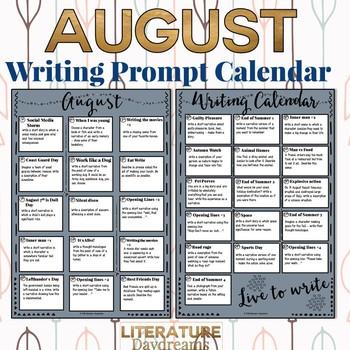 Creative Writing Prompts Calendar: August